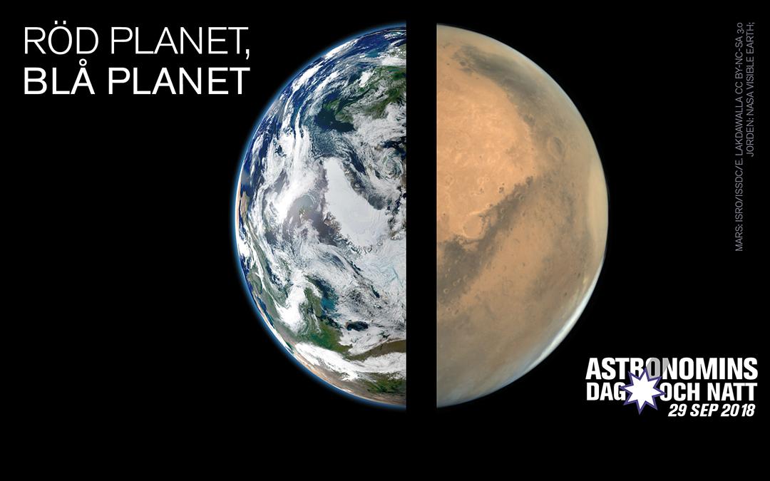 """Pressmeddelande: Astronomins dag och natt 2018 firas den 29 september – med tema """"Röd planet, blå planet"""""""