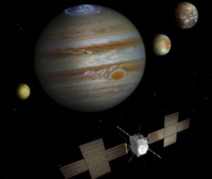 Bild: ESA/ATG medialab; Jupiter: NASA/ESA/J. Nichols (University of Leicester); Ganymede: NASA/JPL; Io: NASA/JPL/University of Arizona; Callisto and Europa: NASA/JPL/DLR